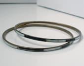 Vintage Mod Black And White Bracelet Bangle Pair