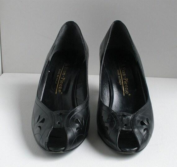 Vintage Italian Leather Peep Toe Black Heels by Evan Picone Sz 8.5