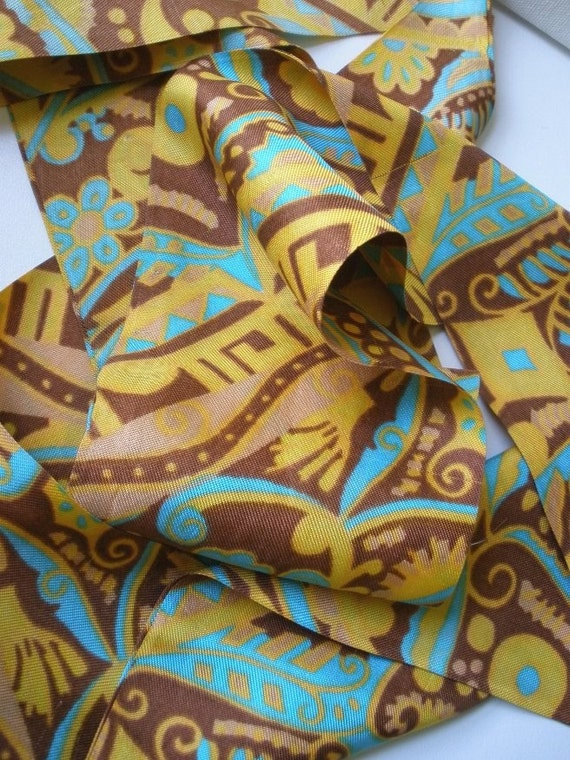 Vintage Hair Scarf with 70s Abstract Print in brown yellow orange and turquoise