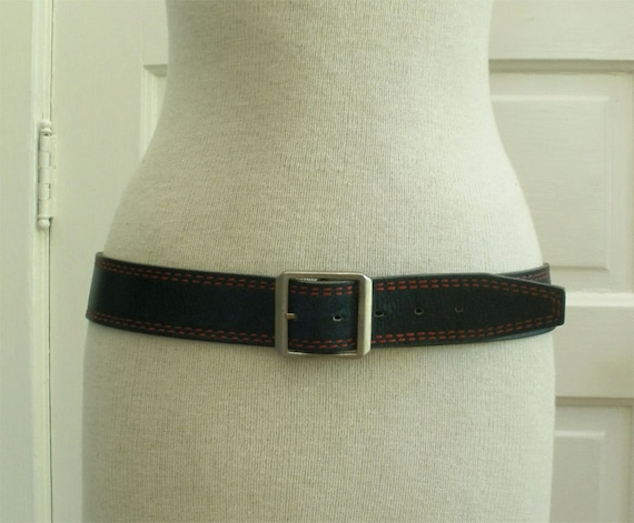 Vintage Navy Leather Belt with Red Stitching // Medium Large