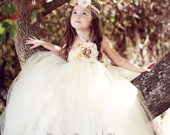 Once Upon a Fairy Tale Creme & Champagne Couture Tutu Dress
