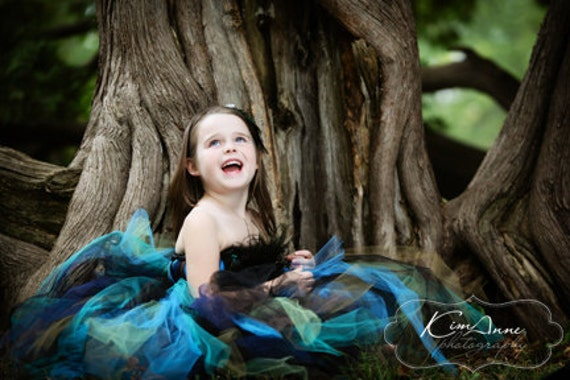 Pretty Little Peacock Couture Tutu Dress- SZ 3-5 YRS
