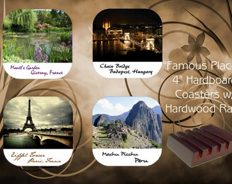 Coaster Set with Mahogany Rack - Famous Places Series