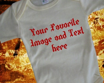 Custom Infant Bodysuit or Toddler T-Shirt, printed front  and back