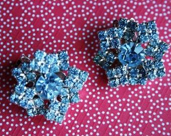 Something Baby Blue Rhinestone Snowflake Vintage Earrings Pin Up Rockabilly Hollywood Glamour