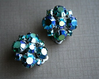 Something Blue Rhinestone Cluster Vintage Earrings Pin Up Rockabilly Hollywood Glamour