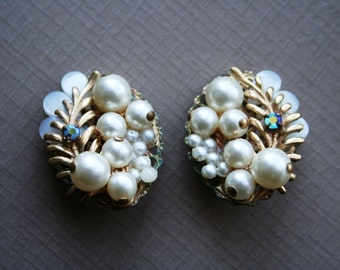 Vintage Garden Wedding  - Pearl, Gold Tone, and Aurora Borealis Crystal Vintage Earrings Pin Up Rockabilly Hollywood Glamour