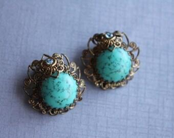 Gold Filigree, Turquiose and Baby Blye Rhinestone Vintage Earrings