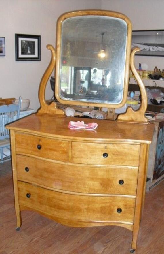 Birds Eye Maple Lyre Swing Mirror Dresser