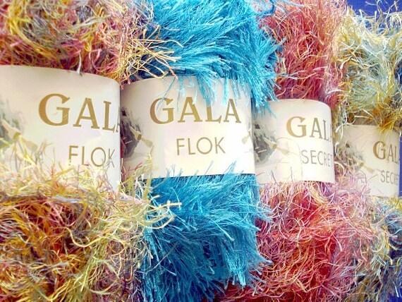 Yarn Lot Destash Gala Secret Flok Fantasy Specialty Novelty Art Faux Fur Yarn Four Balls One of Each Color - PRICE REDUCED