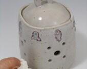 White Stoneware Garlic Keeper