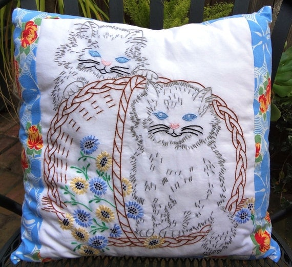 Vintage Cat in a Basket Pillow Cover / Hand Embroidered / Shabby Chic