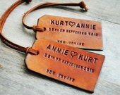 2 Custom Leather Luggage Tags - Up to 4 lines - Unique Gift for Boyfriends, Husbands, Brothers, Fathers Day, or Summer Vacation Travel.