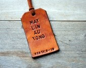 Single Custom Vertical Leather Luggage Tag. Stamped with Your Name, Phrase, Verse. Gift for wedding, birthday, thank you, congrats.