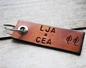 Custom Leather Keychain. Perfect Masculine Gift for Him.