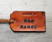 Luggage of Mrs. Darcy.  Ready-Made Decorative Leather Luggage Tag.  Immediate Shipping.