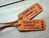 NEW ... 2 Custom Leather Luggage Tags - LIFE is a JOURNEY - Personalize with your initials