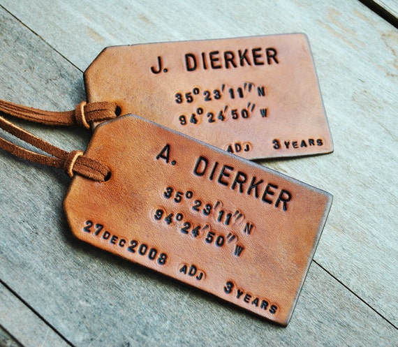Personalized Luggage Tags Wedding Gift: Items Similar To Set Of 2 Map Coordinates Leather Luggage