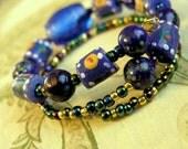 Cobalt Blue Handpainted Beaded Bracelet
