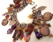Wood and Glass Vintage Charm Bracelet