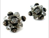 VENDOME Bead Earrings - Clear Silvery Crystal Cluster Clip On - 1950s Signed Vintage Jewelry