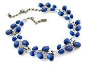H & S Blue Moonglow Necklace - Vintage 1950s Lucite Plastic Rhinestone - Signed Costume Jewelry