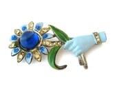 CORO Hand Brooch - 1940s Enamel Rhinestone Glass Pin - Vintage Costume Jewelry
