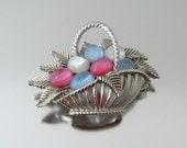 TRIFARI Moonglow Basket Brooch - Vintage 1950s Signed Jewelry - Pink Blue Easter Egg Figural