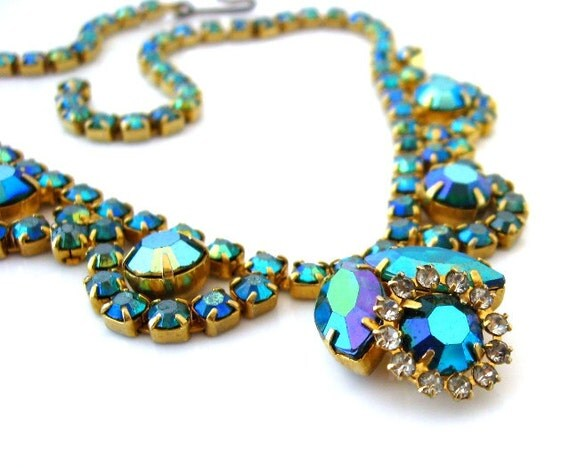 Peacock Blue Rhinestone Necklace - Aurora Borealis Glass Flower Choker -  Vintage 1960s Costume Jewelry