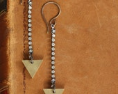 Arrowhead - Brass Triangle and Rhinestone Earrings by Prairieoats