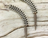 Freefall -  Medieval Brass Chain and Spike Drop Earrings by Prairieoats