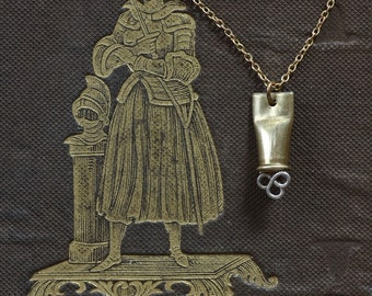 A Medieval Crush - Crushed Bullet Shell and Filigree Necklace by Prairieoats