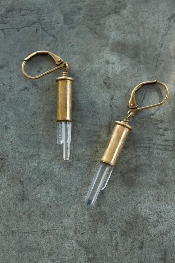 Catch-22 - Bullet Earrings - Brass Bullet and Raw Crystal Earrings by Prairieoats