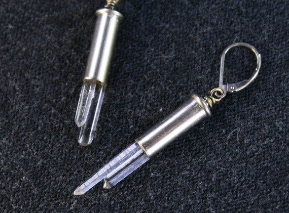 Catch-22 - Recycled Silver Bullet Shell and Crystal Earrings