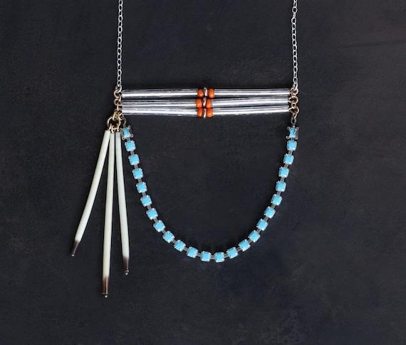 Cheyenne I - Porcupine Quill Turquoise Rhinestone Modern Tribal Bib Necklace by Prairieoats