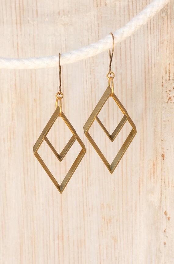 Diamonds Are... Modern Tribal Brass Diamond Earrings by Prairieoats