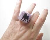 Sz 6 Purple Pearl Pug Silhouette Resin Ring