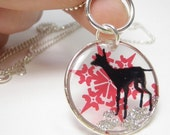 Fawn And Snow Flake Resin Pendant
