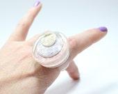 Sz 10 Glitter Glam Rock Resin Ring