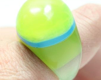 Sz 8.75 Summer Lime Margarita Resin Ring