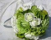 "Green ranunculus, ivory rosebuds and green hydrangea make up my ""Fresh Mint"" kissing ball."