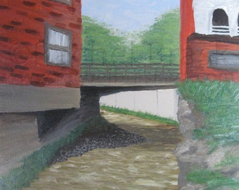 Original Oil Painting Rural Downtown River Behind Main Street in Town of Arcade
