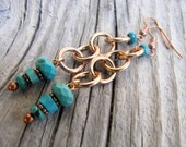 Faceted Turquoise Copper Earrings