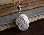 Victorian Flower Locket - Silver Floral Locket - Victorian Inspired