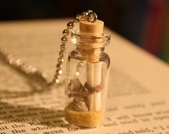 Message From The Sea - Glass Vial Necklace - Message in a Bottle - Beach Wedding