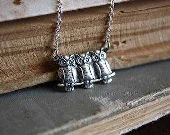 Owl Necklace - Woodland Necklace - Forest Creature - Bird Necklace - Autumn Fashion