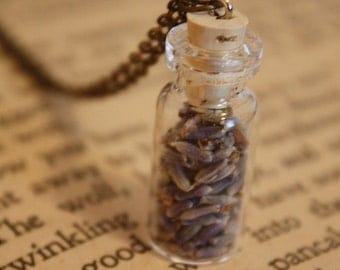 Lavender Necklace - Wicca Necklace - Herbal Necklace - Pagan Necklace - Glass Bottle Necklace - Bridesmaid Necklace