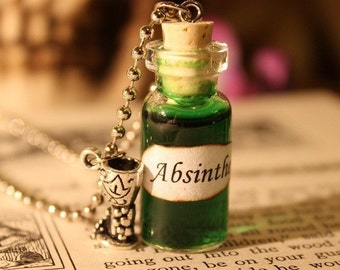 Glass Vial Necklace - Absinthe - Halloween Jewelry