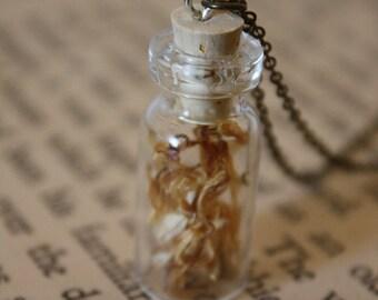Witch Necklace - Potion Bottle - Herb Necklace - Calendula - Marigold