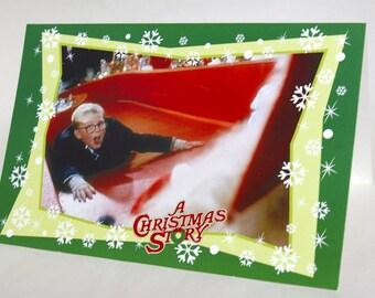 A Christmas Story - Christmas Greeting Card / Ralphie and Santa / Red Ryder B.B. Gun / Humor, Comedy / Christmas Classic